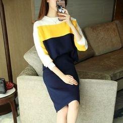 小沫商城 - 套裝: 撞色毛衣 + 針織短裙
