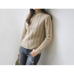 JUSTONE - Mock-Neck Cable-Knit Top