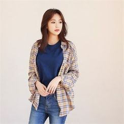 Styleberry - Drop-Shoulder Plaid Shirt