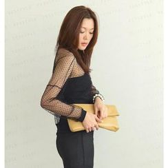 SO Central - Long-Sleeved Dotted Sheer Top