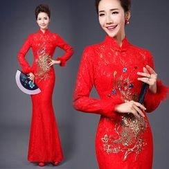 Bridal Workshop - Long-Sleeve Embroidered Wedding Cheongsam