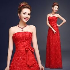 Gracia - Strapless Lace Evening Gown