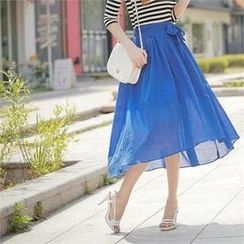 Styleberry - Tie-Waist Dip-Back Maxi Skirt