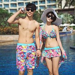Sunset Hours - Couple Floral Bikini / Swim Shorts