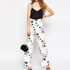 Richcoco - Floral Print Wide Leg Pants
