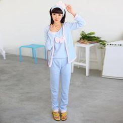 59 Seconds - 睡衣套裝:蝴蝶結細節背心上衣 + 夾克 + 褲 + 頭帶