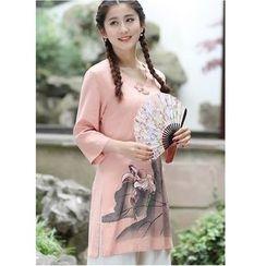 Venesia - Floral Print 3/4 Sleeve Tunic
