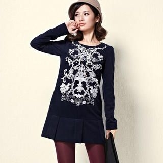 Moonbasa - Long-Sleeve Printed Pleated Shift Dress