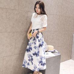 AiSun - Set: Embroidered Short-Sleeve Top + Midi Skirt