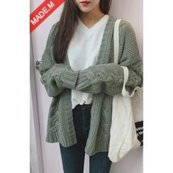 MICHYEORA - Open-Front Cable-Knit Cardigan