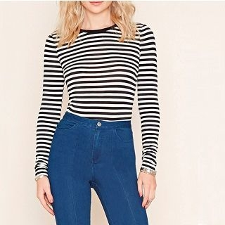 Everose - Long-Sleeve Striped T-Shirt