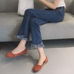 时尚麻豆家 - 散边下摆靴形牛仔裤