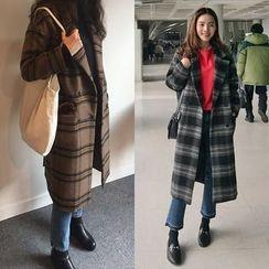 Seoul Fashion - Wool Blend Plaid Coat