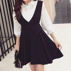 Panda Love - Set: Lace Shirt + Jumper Skirt