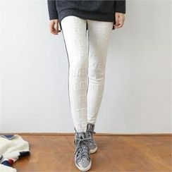 GLAM12 - Brushed Fleece Lined Lettering Textured Leggings