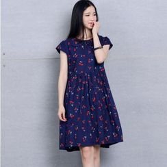 Fancy Show - Cherry-Print Collared Dress