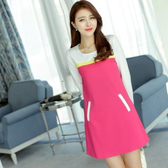 Bornite - Color Block Long-Sleeve Sheath Dress