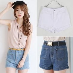 Sienne - High-Waist Denim Shorts