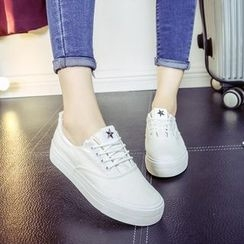 Solejoy - Lace-Up Studded Sneakers