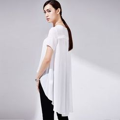 DELIZZA - Short-Sleeve Long Chiffon Blouse