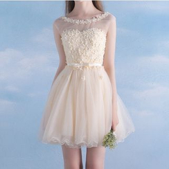 MSSBridal - Floral Sleeveless Mini Prom Dress