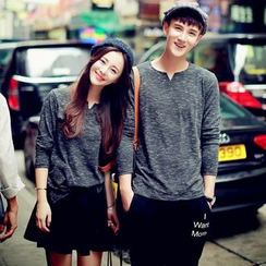 Evolu Fashion - Couple Matching Long-Sleeve Melange T-Shirt