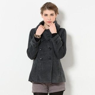 YesStyle Z - Funnel Collar Double-Breasted Jacket