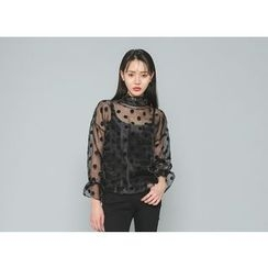 Envy Look - Set: Polka-Dot Sheer Top + Camisole Top