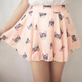 Tokyo Fashion - Cat-Print Chiffon A-Line Skirt