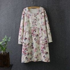 Blue Rose - Floral Print Linen Cotton Long-Sleeve Dress