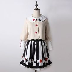 GOGO Girl - Set: Embroidered Collar Buttoned Jacket + Print A-Line Skirt