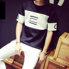 Ekinbrown - Letter Colour Block Short-Sleeve T-shirt