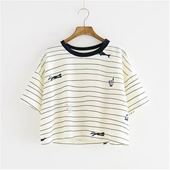 Storyland - Striped Cropped T-Shirt