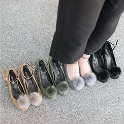 VIVIER - Faux-Fur Faux-Suede Mary Jane Pumps