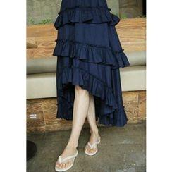 Lemite - Ruffled Asymmetric-Hem Midi Skirt