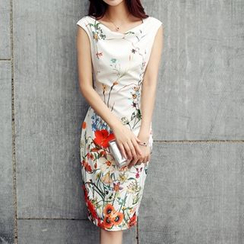 Cobogarden - Floral Print Sleeveless Dress