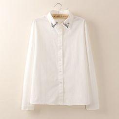 Tangi - Long-Sleeve Flower Embroidered Shirt