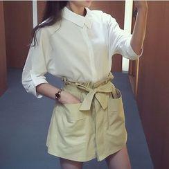 Ashlee - Set: Plain Long-Sleeve Shirt + Paperbag Waist Skort