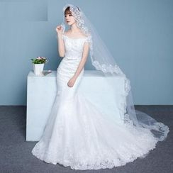 Luxury Style - Off Shoulder Mermaid Wedding Gown With Train