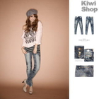 Kiwi Shop - Washed Denim Skinny Jeans