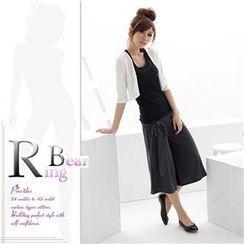 RingBear - 粗大腿消失.素面绑带宽版裤裙