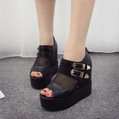 Anran - Mesh Panel Peep Toe Platform Hidden Wedge Sandals