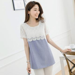 Tokyo Fashion - Short-Sleeve Lace-Panel Check Top