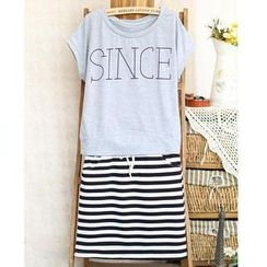 Ringnor - Set: Short-Sleeve Lettering T-Shirt + Striped Skirt