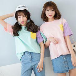 Ainvyi - Color Block Crewneck T-Shirt