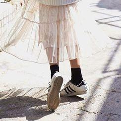 chuu - Band-Waist Crinkled Velvet Midi Skirt
