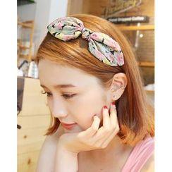 Miss21 Korea - Floral Print Bow Hair Band