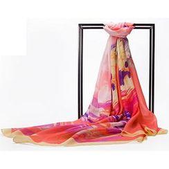 羚羊早安 - 真絲唯美印花水墨夏季女士絲巾