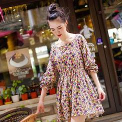 11.STREET - Floral Print Long-Sleeve Dress
