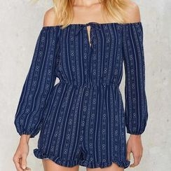 Flobo - Off-Shoulder Printed Playsuit